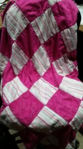pink flannel rag quilt back